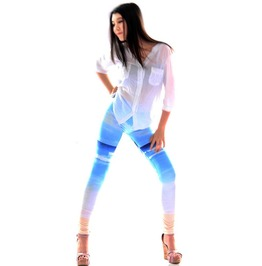 Sky Blue Print Tight Leggings