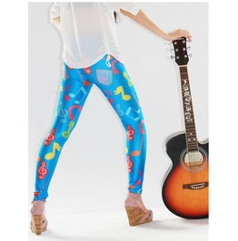 Musical Note Print Blue Tight Leggings