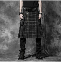 Punk black scottish style skirt for men with leather belt punk rave rebelsmarket