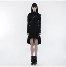 Punk Black Cotton Long Sleeves Hi Low Dress For Women