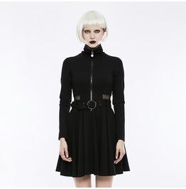 fc856859b3a2 Punk Rock Black Knitted Turtleneck Mesh See Thru Waist Dress For Wo