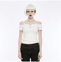 Gothic White Off Shoulder Slim Fit Knitted T Shirt For Women