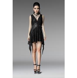 5e7fc58b6a66 Punk Rock Black Snakeskin Plunging Neckline Pointed Hem Sleeveless Dress  For Wo