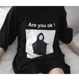 Dark Forest Are You Ok Anime Print Womens Oversized T Shirt Top