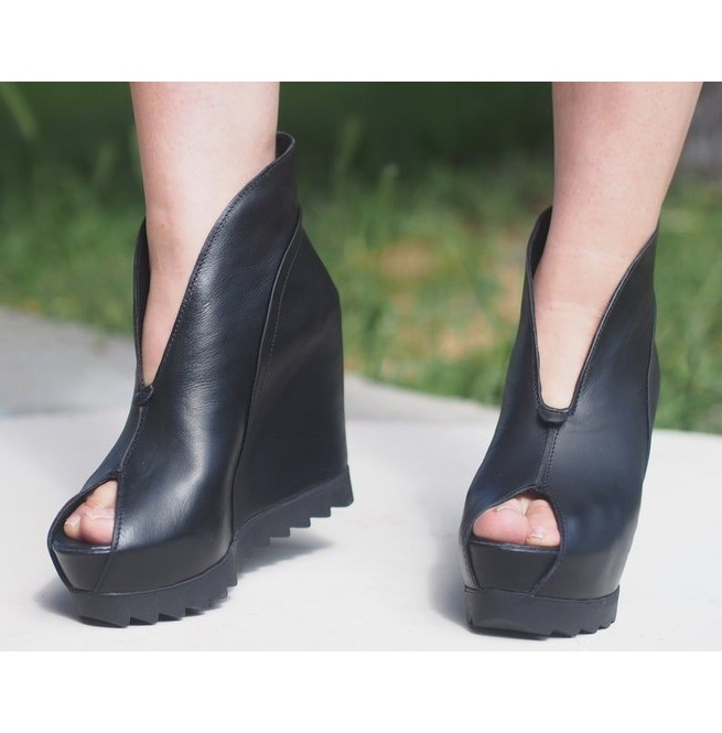 185aa2d832b30 Genuine Leather Summer Boots/Black Genuine Leather Wedges/Must Have Wedges