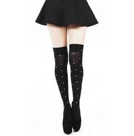 40 Denier Knee Sock Large Pearl Studs Black