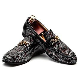 2839a3e7101e8 Men's Handmade Luxurious Microfiber Casual Loafer In Plaid Design