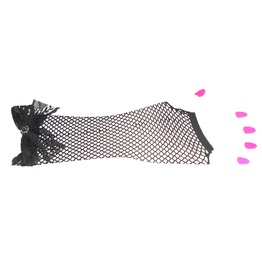 Black Fishnet Gloves Black Lace Bow & Diamante