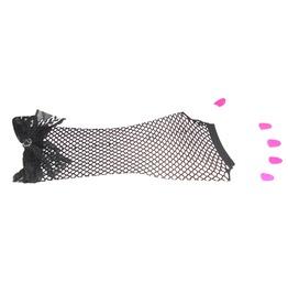 Black Fishnet Gloves Black Lace Bow & Diamante