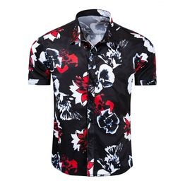 Mens floral printed short sleeved shirt black rebelsmarket