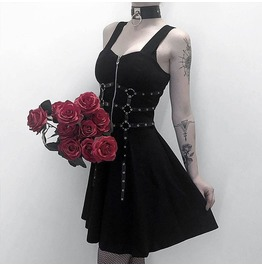 Gothic Black Zip Front Harness Dress Fit Flare A Line