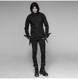 Gothic Asymmetric Front Tail Seam Button Up Shirt