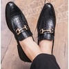 Mens handmade split leather pointed toe dress loafer with gold buckle rebelsmarket