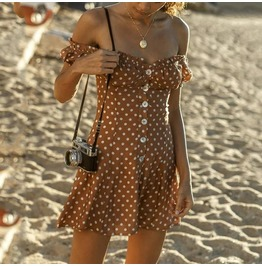 Dark Forest Brown Off Shoulder Polka Dot Boho Summer Womens Dress