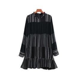 Dark Forest Ruffled Hem Loose Striped Patchwork Long Sleeve Womens Dress