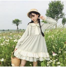 Dark Forest Lolita Harajuku Ruffled Hem Collar Womens Dress