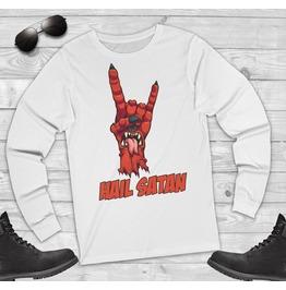Hail Satan Long Sleeve Shirt Satanic T Shirt Occult Clothing Lucifer Goat