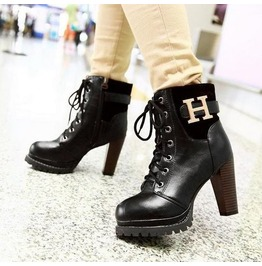 Round Toe High Heel Lace Boots