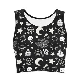 Witch Crop Top Pentagram Goth Shirt Witchcraft Shirt Wicca Pagan Top