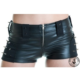 Black Eco Leather Shorts Studs And Spikes Hot Pants Punk Rock Look Handmade