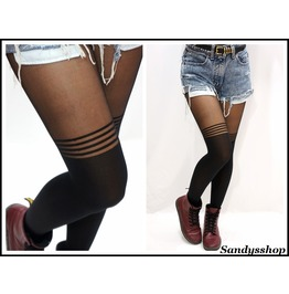 Stripe Knee Stockings/ Pantyhose