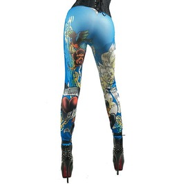 Crazy! Blue Tattoo Design Leggings One Size