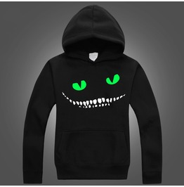 Luminous Cheshire Cat Boy Men Black Hoody Sweater