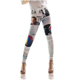 Newspaper Print Tight Leggings