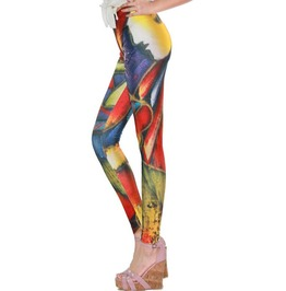 Bright Fancy Color Print Tight Leggings