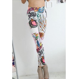 Mixed Colorful Print Tight Leggings
