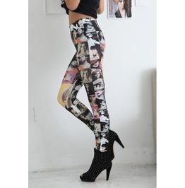 Women Face Print Tight Leggings