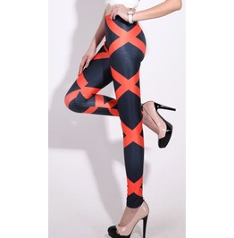 Red Zig Zag Stripes Tight Leggings