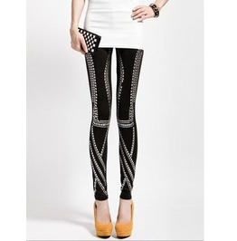Rivets Black Tight Leggings