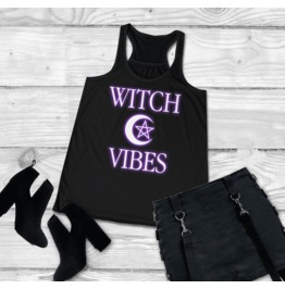 Witch Vibes Shirt Tank Top Pentagram Goth Witchcraft Shirt Wicca Pagan