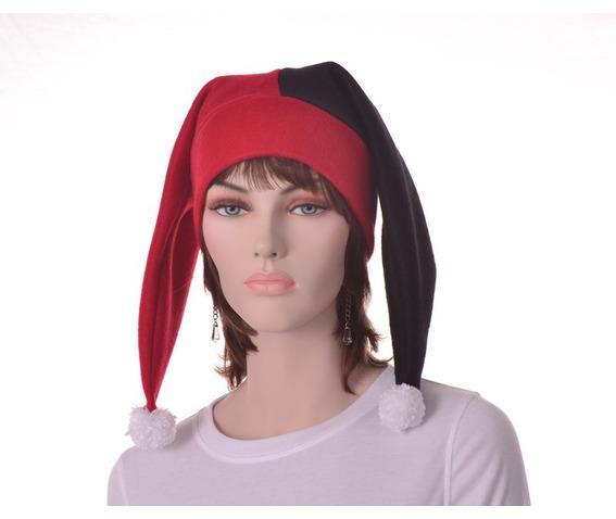 harlequin_hat_two_point_jester_hat_red_black_pompoms_hats_caps_6.JPG