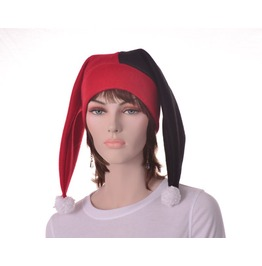 Harlequin Hat Two Point Jester Hat Red Black Pompoms