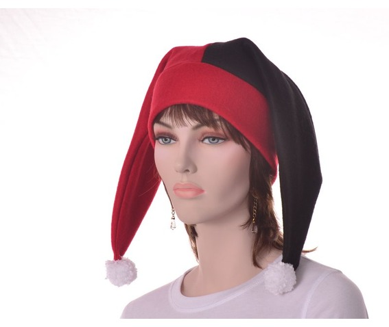 harlequin_hat_two_point_jester_hat_red_black_pompoms_hats_caps_5.JPG