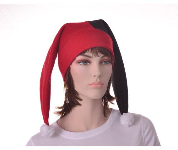 harlequin_hat_two_point_jester_hat_red_black_pompoms_hats_caps_4.JPG