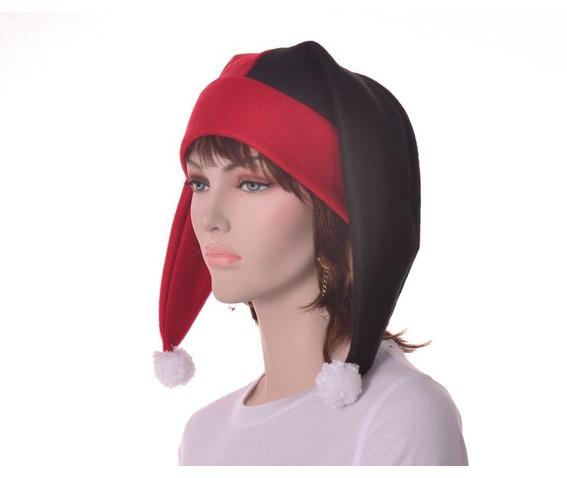 harlequin_hat_two_point_jester_hat_red_black_pompoms_hats_caps_2.JPG