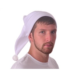 Stocking Cap Long White Beanie Hat Fleece Pompom