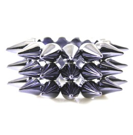 Hardcore Shiny Blue 3 Row Plastic Stud Spike Bracelet
