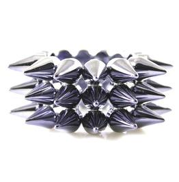 Hardcore Shiny Blue 3 Row Plastic Stud Spike Bracelet
