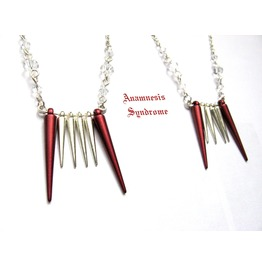 Vampire Teeth Necklace With Spikes, Silver Chain, Glass Bicones. Red Fangs