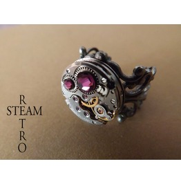 Steampunk Amethyst Filigree Ring Steamretro