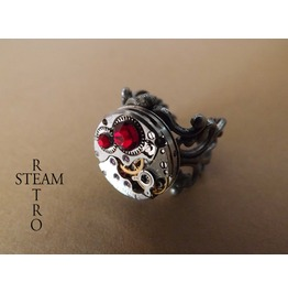 Steampunk Siam Filigree Ring Steamretro