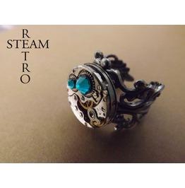 Steampunk Blue Zircon Filigree Ring Steamretro