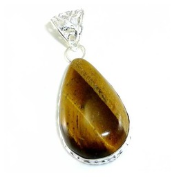 Teardrop Tigers Eye & 925 Silver Pendant 56mm Gemstone