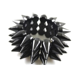Hardcore Black 3 Row Plastic Stud Spike Bracelet
