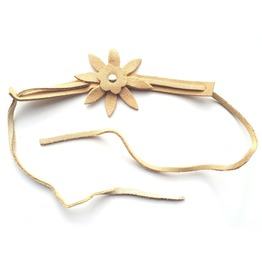 COOL Tan Suede Collar Choker With Ties Has Silver Metal Stud Flower Design