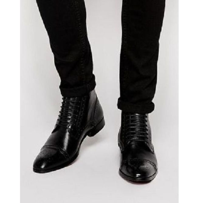 Men Oxford Leather Ankle Boots Brogue Leather Dress | RebelsMarket